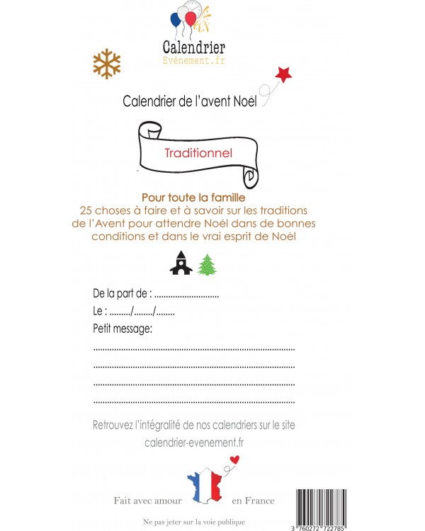 Calendrier de l avent Noël traditionnel Village